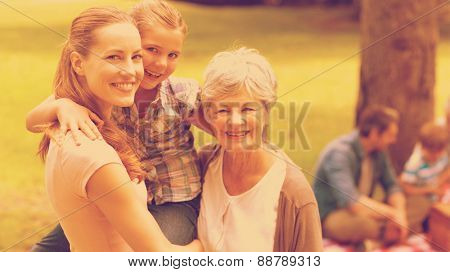 Portrait of grandmother mother and daughter with family in background at the park