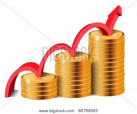 Golden Coins Stacks With Arrow, Vector Illustration.