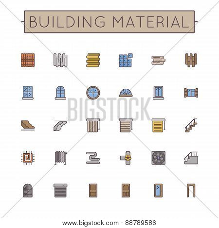 Vector Colored Building Material Line Icons