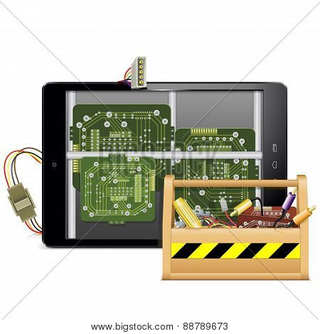 Vector Tablet Pc With Toolbox
