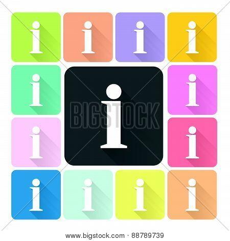 Information Sign Icon Color Set Vector Illustration