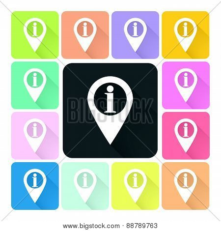 Information Sign Icon Color Set Vector Illustration
