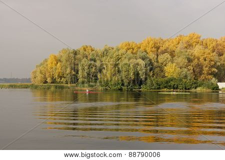Yellowed Trees Reflected in Water on Riverbank