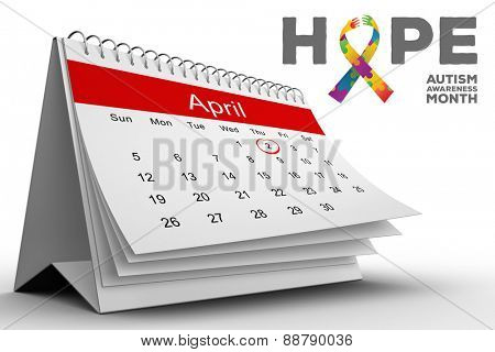 autism awareness month against april calendar