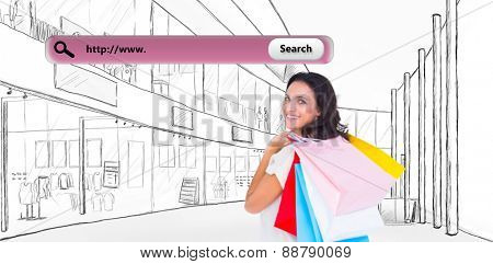 Pretty brunette with shopping bags against search engine