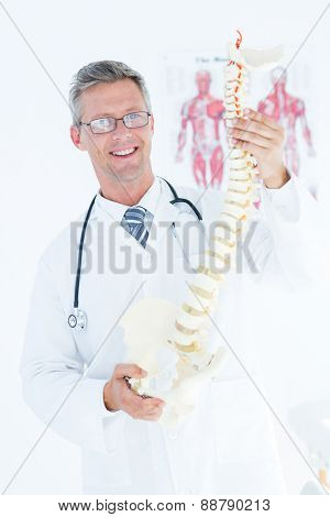Doctor holding anatomical spine and smiling at camera in medical office