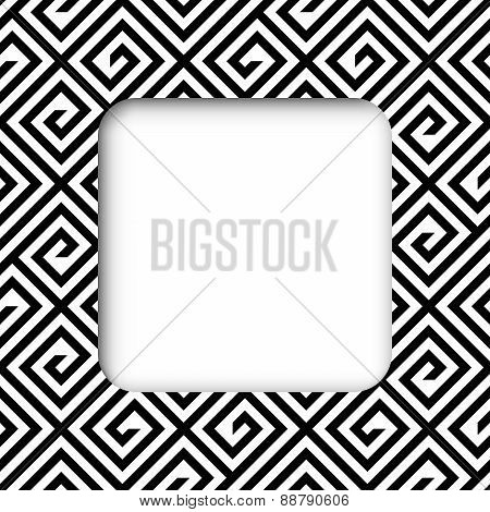 Abstract Black And White Zigzag Vector Frame Banner