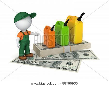 Colorful gasoline jerrycan and pack of dollars.