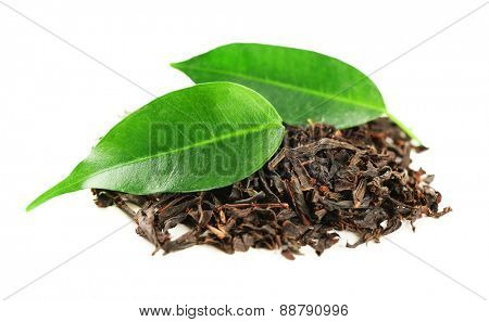 Black tea with leaf isolated on white