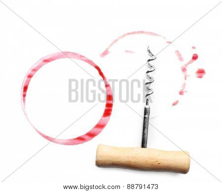 Wine stains and corkscrew isolated on white