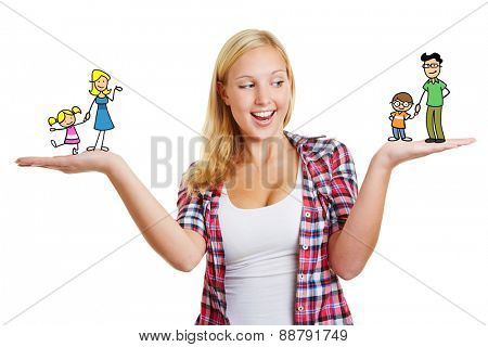 Woman deciding over family custody with parents and children on her hands