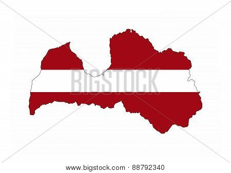 Latvia Flag Map