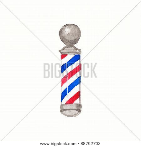 Barber pole. Watercolor barber poles on the white background, aquarelle. Barber shop. Vector illustr