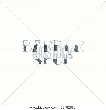 Barber shop sign. Watercolor signs on the white background, aquarelle. Vector illustration.