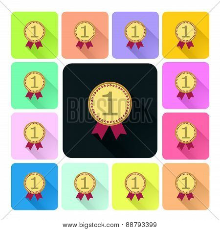 Medal Icon Color Set Vector Illustration.