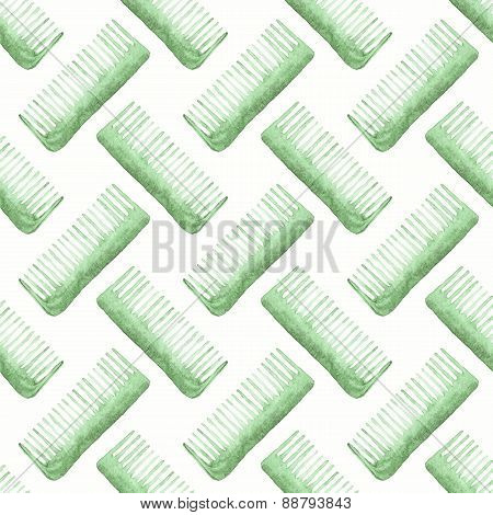 Comb or hair brush. Seamless watercolor pattern with combs on the white background, aquarelle. Vecto