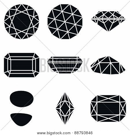 Gemstone Shapes Icons, Vector Illustration