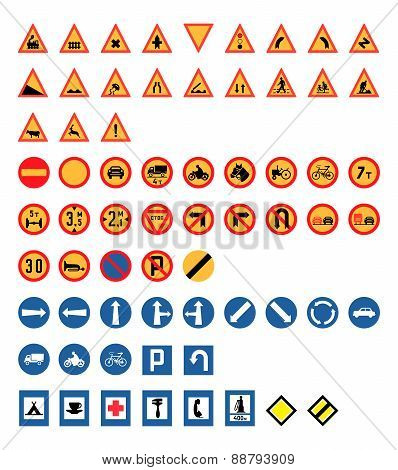 Vintage Road Signs Set, Vector Illustration
