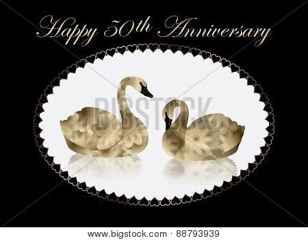 Gold Swans in White Oval 50th Anniversary Card