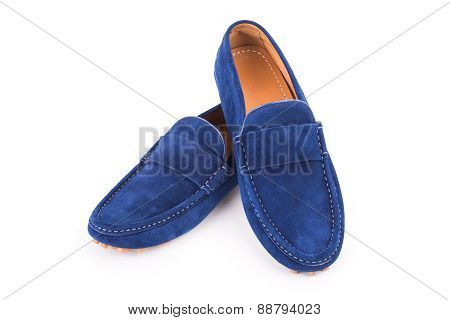 Brown Male Suede Leather Loafers Pair Isolated On White Background