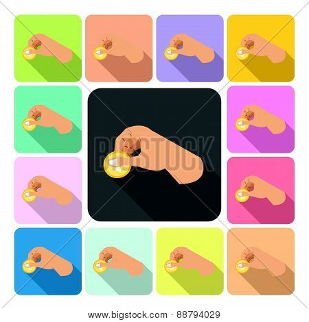 Hand Holding Money Icon Color Set Vector Illustration