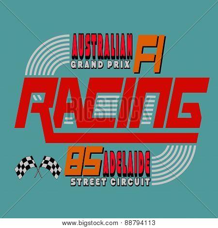 Racing Car Typography, T-shirt Graphics Design, Vector Illustrat