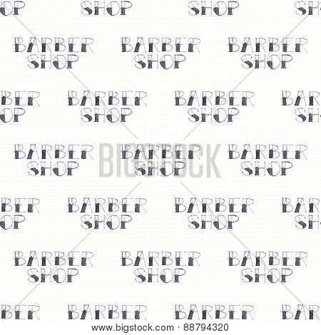 Barber shop sign. Seamless watercolor pattern on the white background