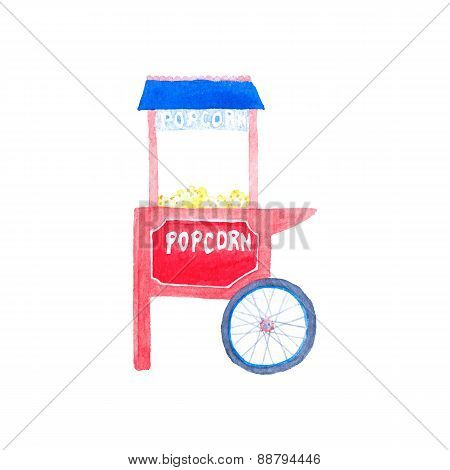 Watercolor popcorn kiosk on the white background, aquarelle. Vector illustration.