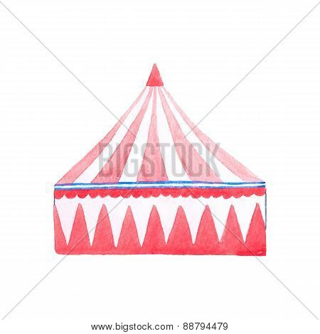 Watercolor red and white Circus tent on the white background, aquarelle. Vector illustration.