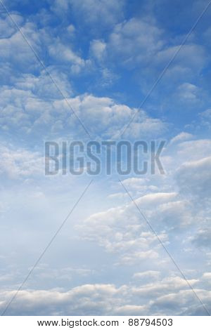Fluffy clouds in a blue sky