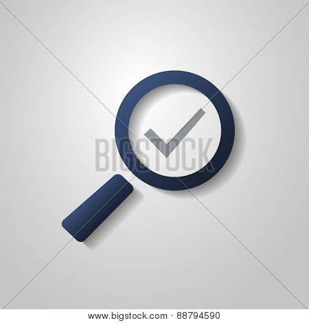 Tick Icon with Magnifying Glass. Flat Design Style