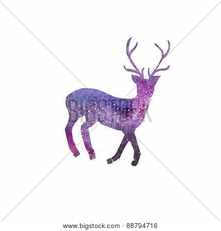 Watercolor galaxy deer on the white background, aquarelle. Vector illustration.