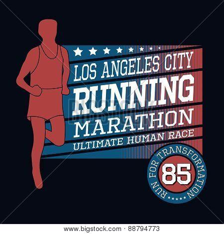 Sport Running Marathon, T-shirt Typography Graphics, Vector Illu