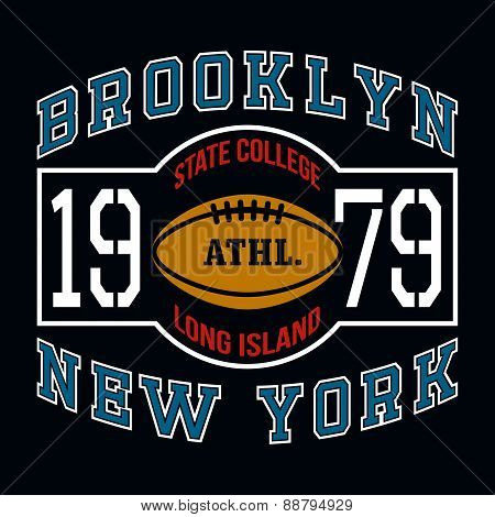 Brooklyn State College T-shirt Typography Graphics, Vector Illus