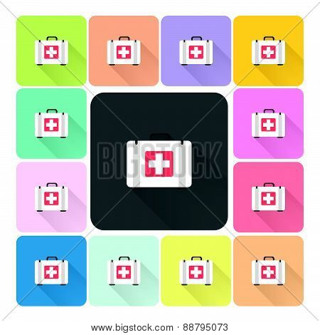 First Aid Box Icon Color Set Vector Illustration