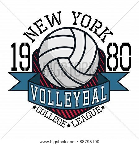 Volleyball College League New Yorkt-shirt Typography, Vector Ill