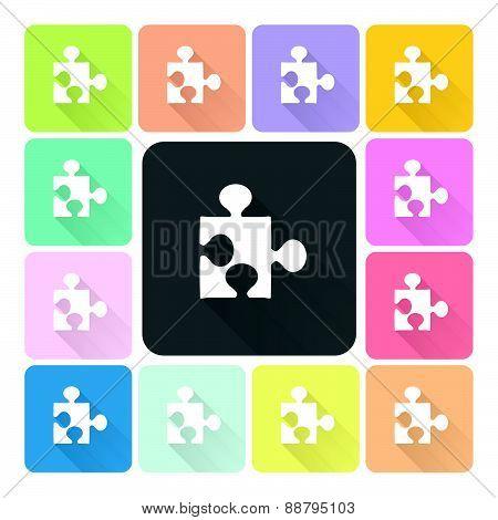 Jigsaw Icon Color Set Vector Illustration