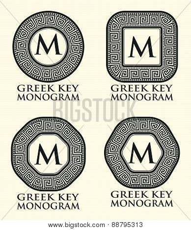 Greek Key Ornament Monogram Set, Vector Illustration