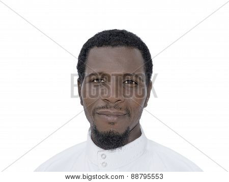Afro man wearing a white djellaba, isolated