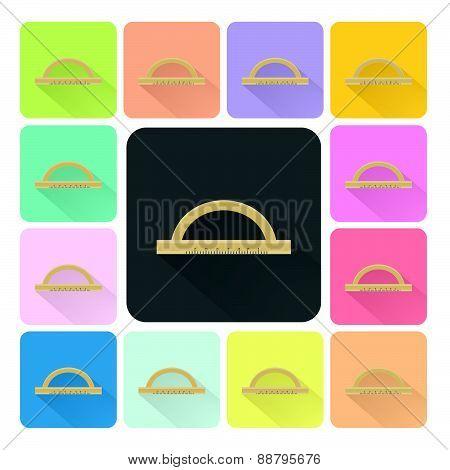Ruler Icon Color Set Vector Illustration