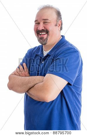 Happy Man With Closed Arms In A Toothy Smile