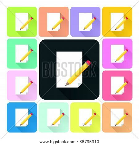 Writing Paper Icon Color Set Vector Illustration