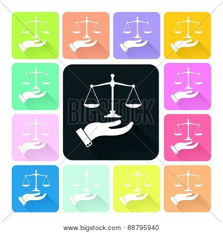 Hand Holding Scales Of Justice Icon Color Set Vector Illustration