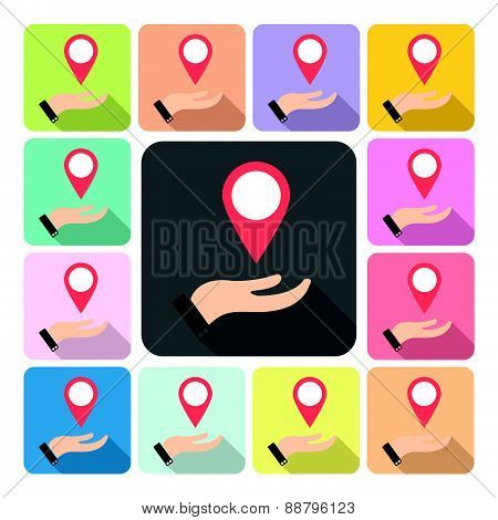 Hand Cover Pointer Icon Color Set Vector Illustration