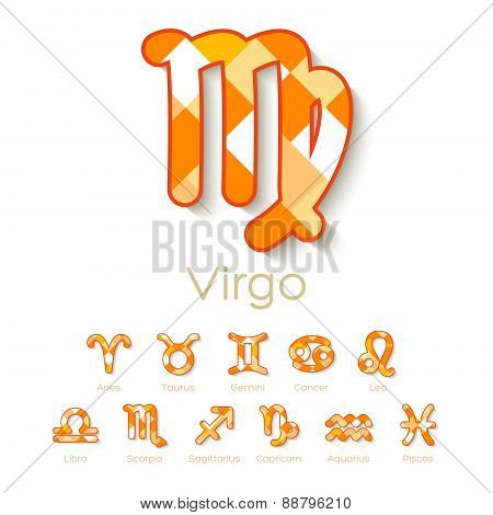 Orange And White Mosaic Zodiac Symbol Icons