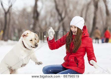 Girl with labrador dog on walk in winter park