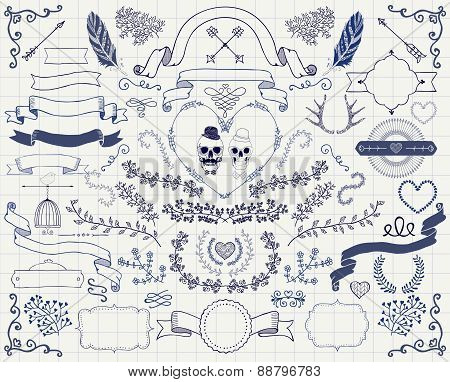 Vector Vintage Hand Drawn Doodle Design Elements