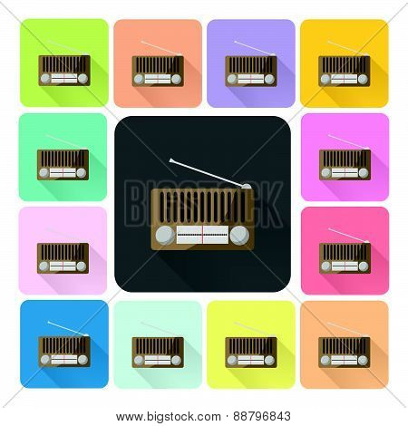 Radio Icon Color Set Vector Illustration