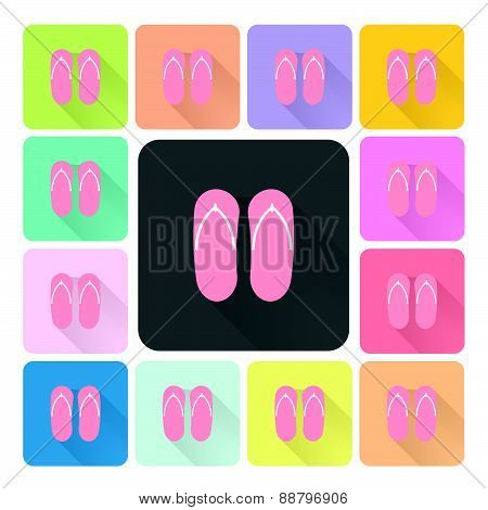 Sandals Icon Color Set Vector Illustration