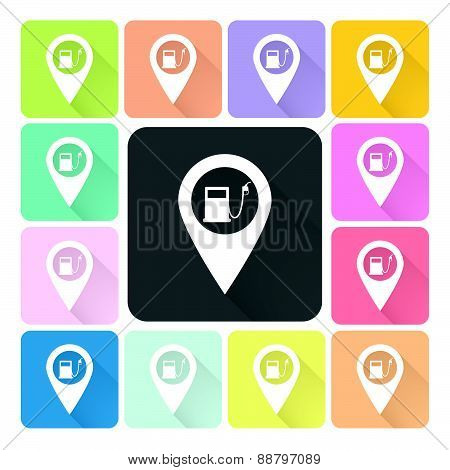 Gas Station Icon Color Set Vector Illustration